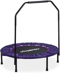 Trampolín para fitness con barra de apoyo