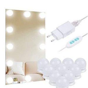 Espejo de baño con luz de bombillas