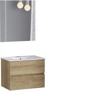 Mueble de baño de fondo reducido con lavabo y espejo