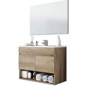 Mueble de baño de fondo reducido y aglomerado