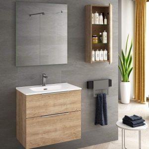 Mueble de baño de fondo reducido y soportes regulables
